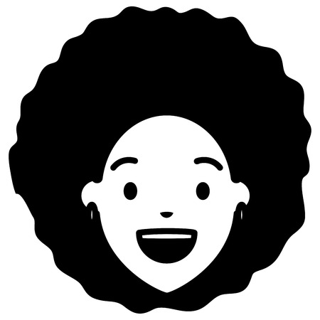 afro american woman face character vector illustration