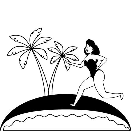 beach palm brazil carnival celebration vector illustration  イラスト・ベクター素材