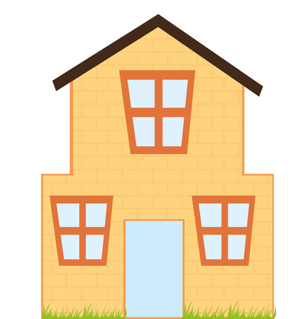 house cartoon with grass isolated over white background. vector Illustration