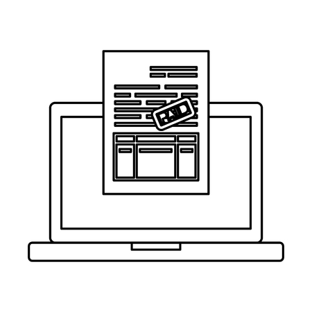 laptop computer with tax documents vector illustration design