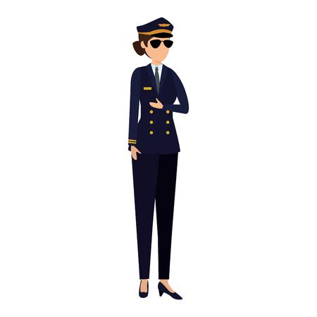 Piloto de aviación femenino avatar ilustración Vectorial character design