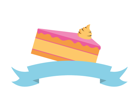 sweet cake slice on white background vector illustration Ilustração