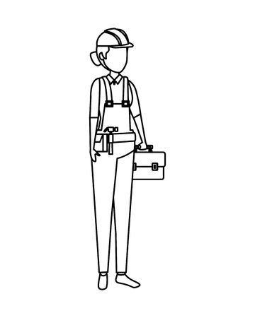 female builder worker with helmet vector illustration design