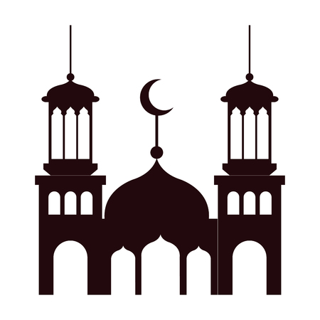 ramadan kareem castle silhouette vector illustration design