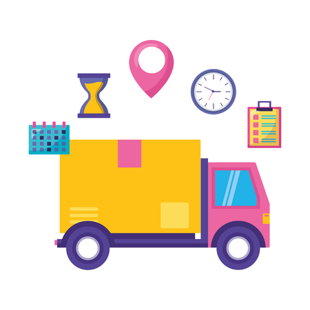 LKW Karton Uhr Kalender schnelle Lieferung Business Vector Illustration Vektorgrafik