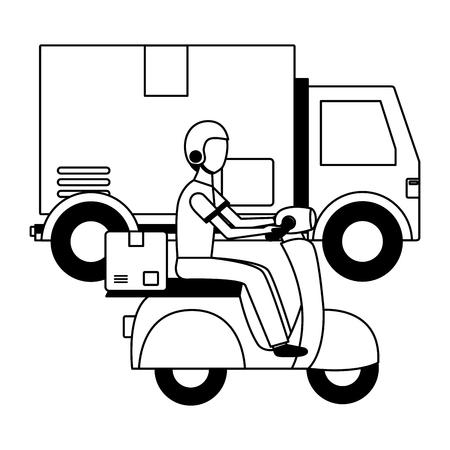 Hombre con scooter camión caja de carga de entrega rápida ilustración vectorial