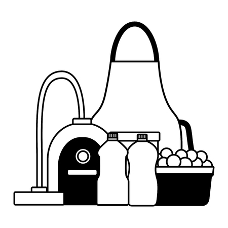 apron vacuum bottles spring cleaning tools vector illustration Ilustrace