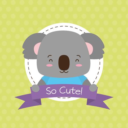 cute koala animal cartoon sticker vector illustration design Foto de archivo - 122514254