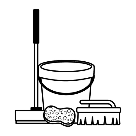 bucket broom sponge brush spring cleaning tools vector illustration Çizim