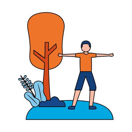 young man practicing exercise outdoors vector illustration Illustration