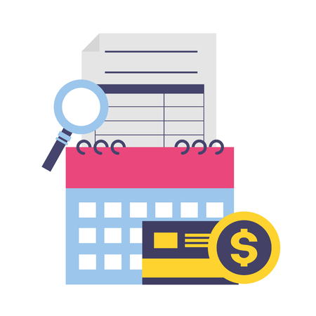 tax payment document calendar bank card magnifier vector illustration