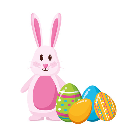 happy easter rabbit eggs decoration vector illustration