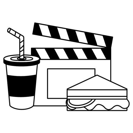 cinema sandwich soda clapboard fast food vector illustration design Illustration