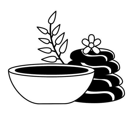 stones bowl leaves spa treatment therapy vector illustration