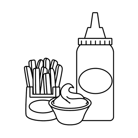 sauce bottle french fries fast food vector illustration Stock Vector - 122607127