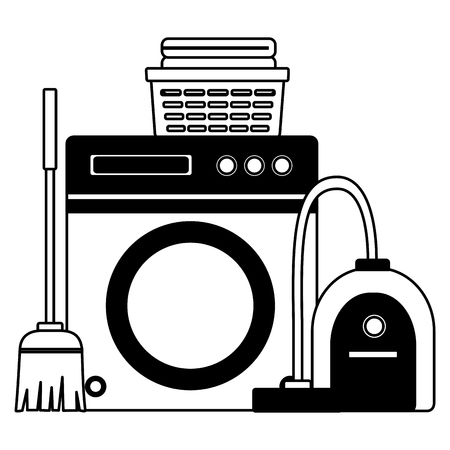 washing machine vacuum broom mop spring cleaning tools vector illustration Illustration