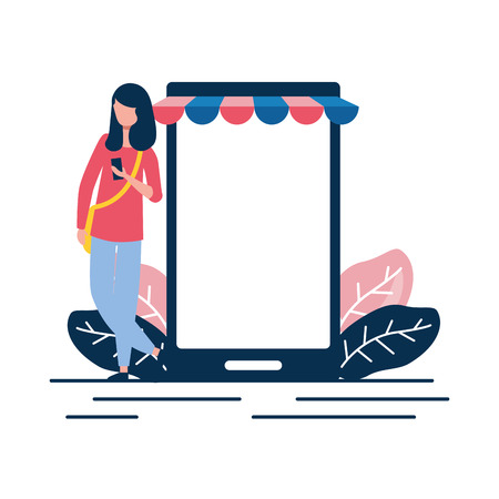 woman using cellphone ecommerce market vector illustration Illustration