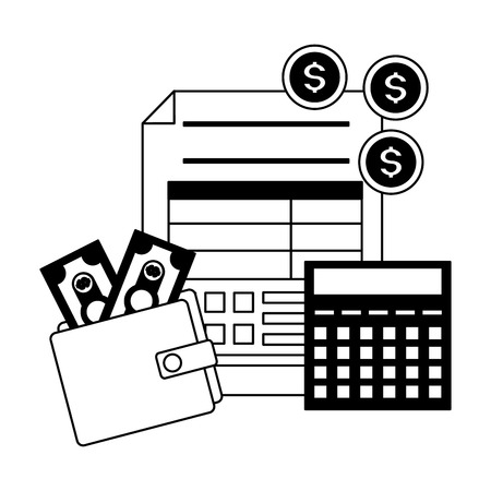 tax payment document wallet money calculator coins vector illustration Standard-Bild - 122607133