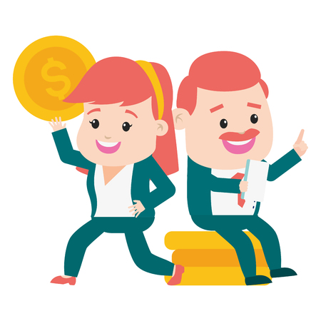 businessman and woman coins stack online payment vector illustration