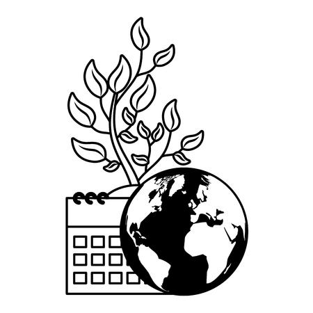 world calendar plant nature vector illustration  design Ilustrace