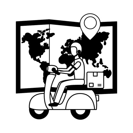 man in motrocycle map navigation fast delivery vector illustration