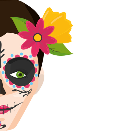 catrina skull flower character vector illustration design Standard-Bild - 122627807