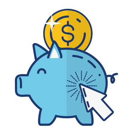 piggy bank coin money online payment vector illustration Stok Fotoğraf - 122627781