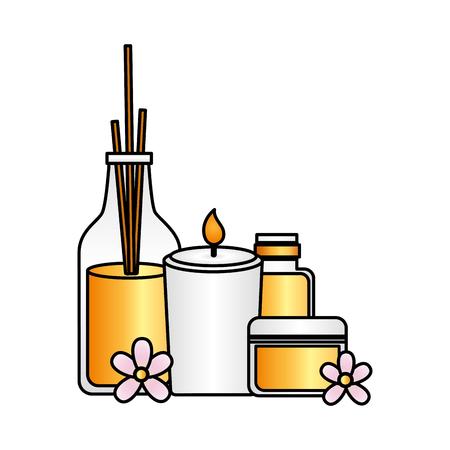 bastoncini per aromaterapia candela gel tubo trattamento termale terapia illustrazione vettoriale Vettoriali