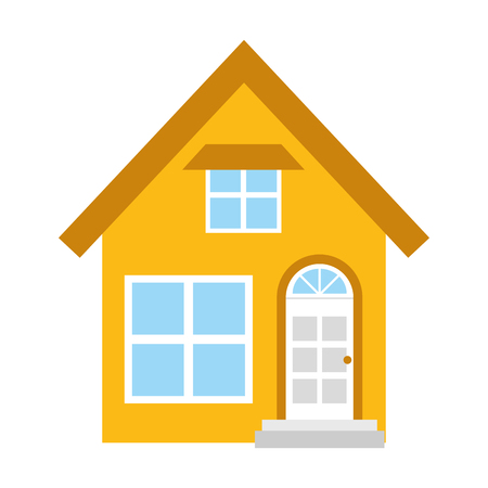 house facade exterior on white background vector illustration design