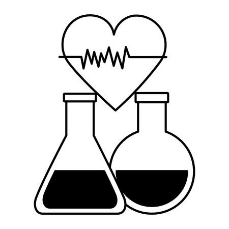 Frascos médicos clínica de latidos del corazón, diseño de ilustraciones vectoriales