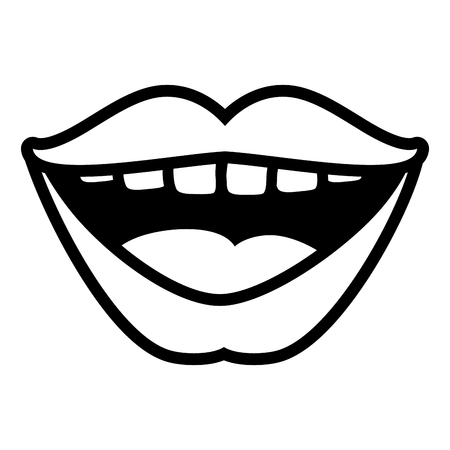 open mouth lips female on white background vector illustration Banque d'images - 122645376
