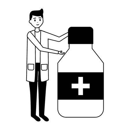 doctor man medicine bottle healthcare vector illustration