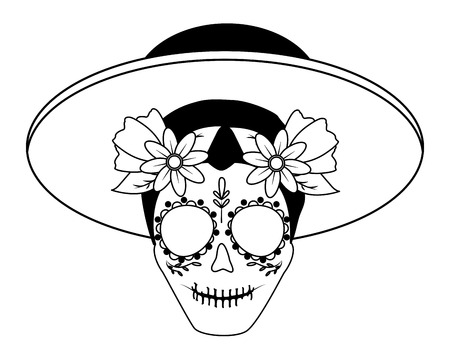 catrina with hat mexican culture vector illustration Standard-Bild - 122646646