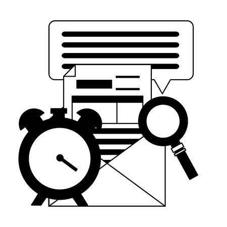 clock magnifier form tax time payment vector illustration
