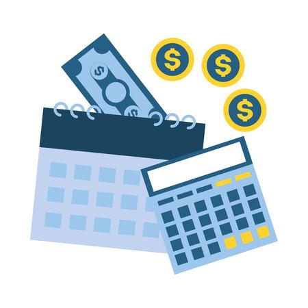 calcolatrice calendario banconote monete denaro pagamento tasse illustrazione vettoriale Vettoriali