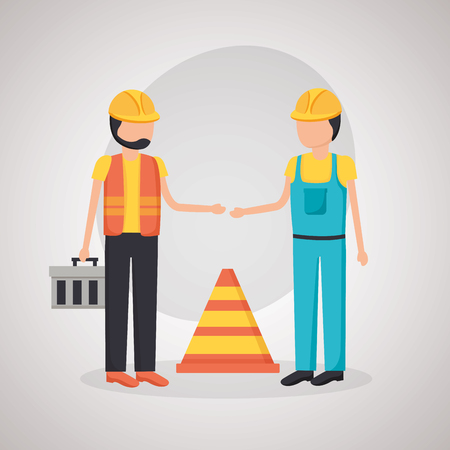construction worker traffic cone toolbox vector illustration