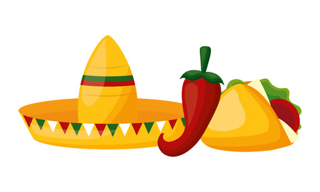 hat taco jalapeno mexico cinco de mayo vector illustration