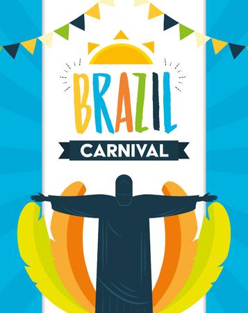 statue of christ redeemer feathers brazil carnival festival celebration poster vector illustration