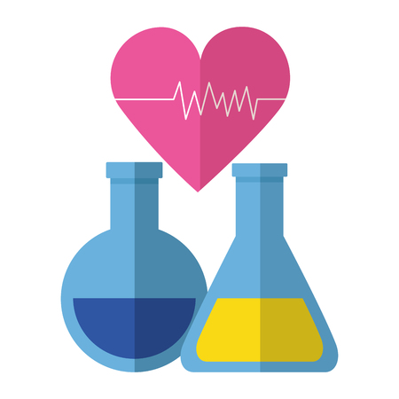 medical flasks heartbeat clinic vector illustration design Illustration