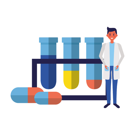 doctor medical flasks laboratory clinic vector illustration