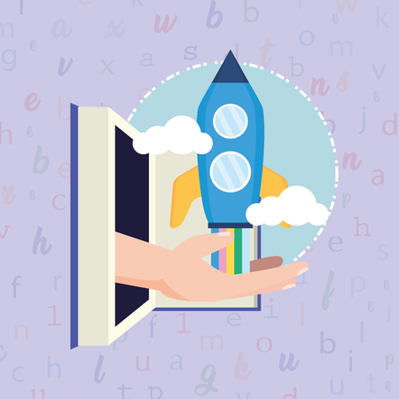 open book hand with rocket - world book day vector illustration  イラスト・ベクター素材