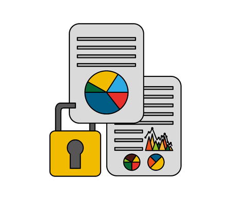 document with statistics graphic and padlock vector illustration design