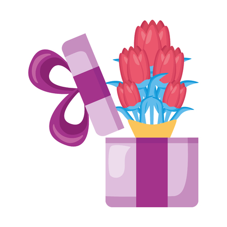gift box flowers white background vector illustration  イラスト・ベクター素材