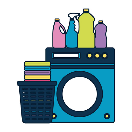 washing machine laundry bottles spring cleaning tools vector illustration Ilustracja