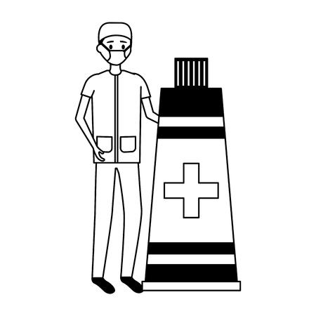 doctor man medical tube medicine vector illustration Illusztráció