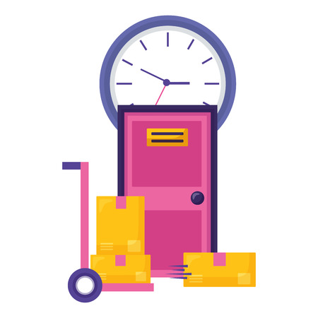 handcart boxes door clock fast delivery business vector illustration