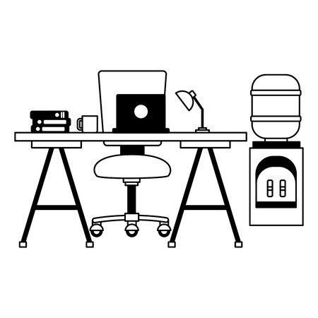 desk laptop chair water dispenser books coffee cup workplace office furniture vector illustration Illustration