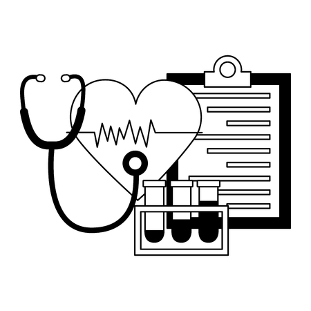 medical heart stethoscope flasks clipboard vector illustration