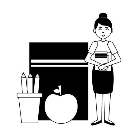 woman book apple pencils teachers day card vector illustration Ilustração