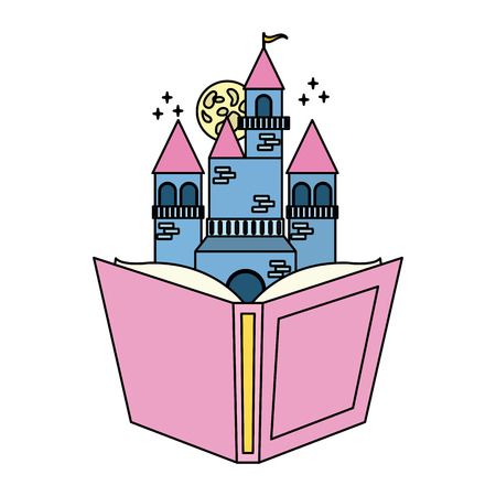 textbook castle fantasy world book day vector illustration